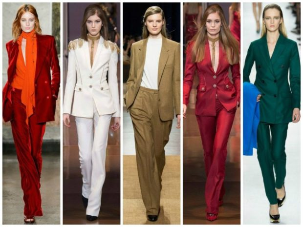 Женские костюмы 2019-2020: брюки пиджак красный белый горчичный красный зеленый