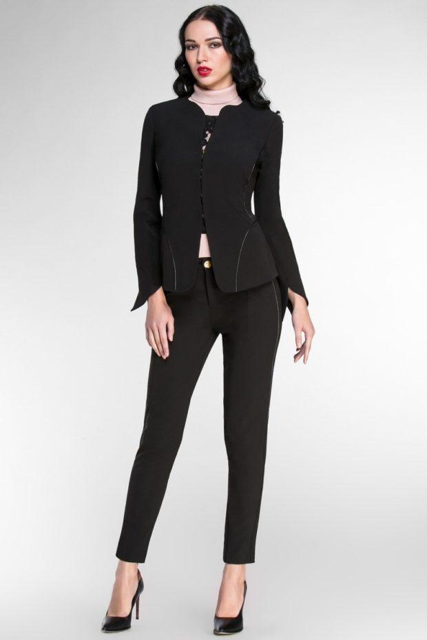 Женские костюмы 2019-2020: брючный черный пиджак+брюки