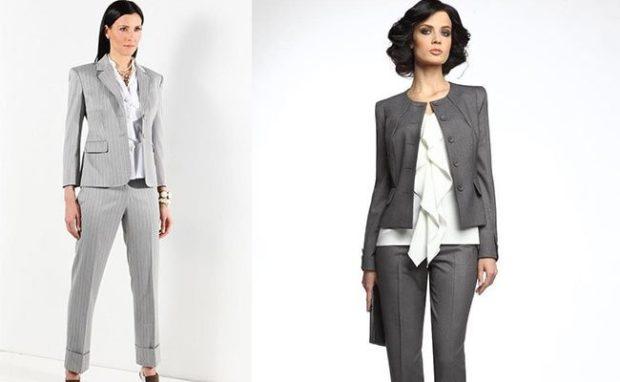 костюм серый брюки пиджак в полоску пиджак короткий брюки серые