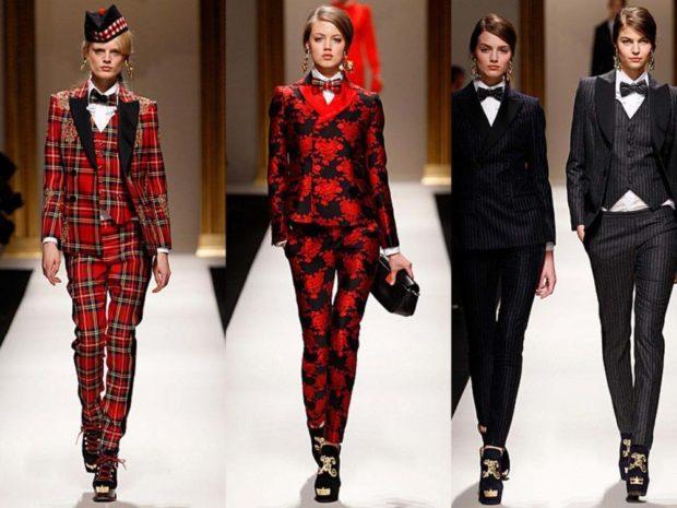 костюмы брюки пиджак красный в клетку красный в цветы черный в полоску серый тройка