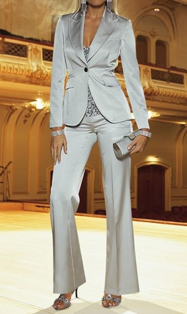костюм брюки пиджак серебристые