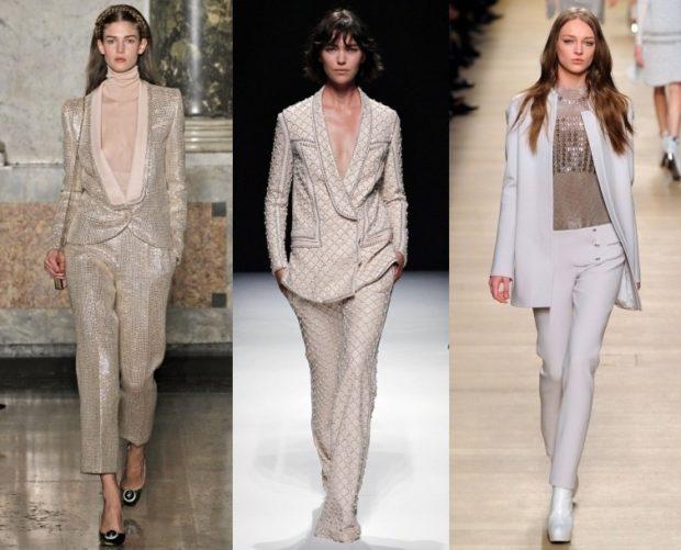 костюм серебристый светлый беж белый пиджак брюки