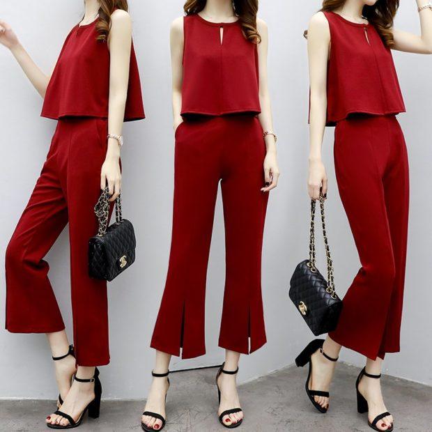 костюм брюки топ красный на вечер