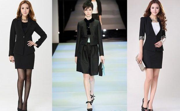 Женские костюмы 2019-2020: юбка с пиджаком черные шорты