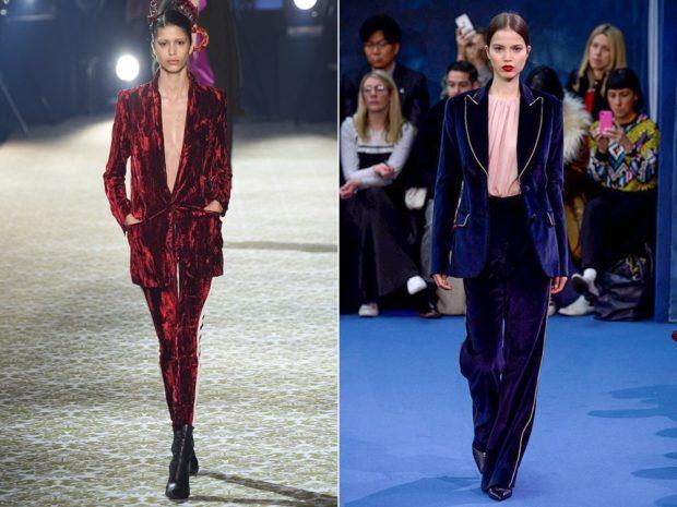 костюм бархатный пиджак брюки красный синий