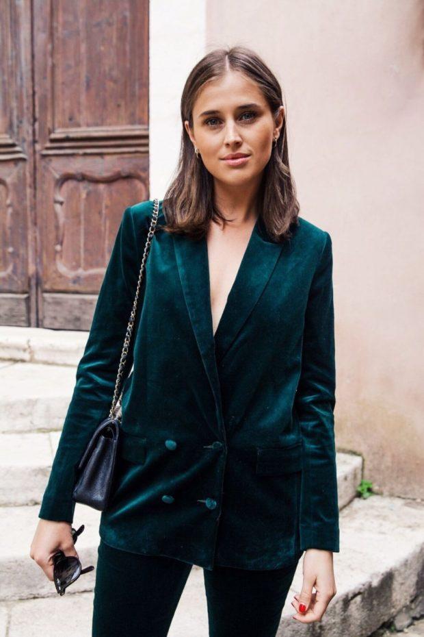 пиджак брюки бархат зеленый
