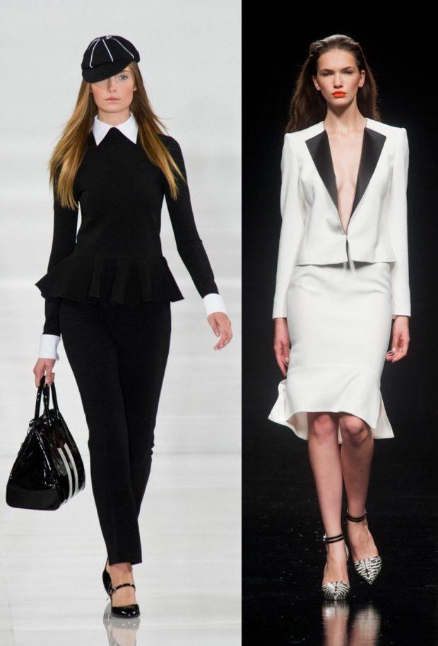 Женские костюмы 2019-2020: брюки пиджак черный юбка белый