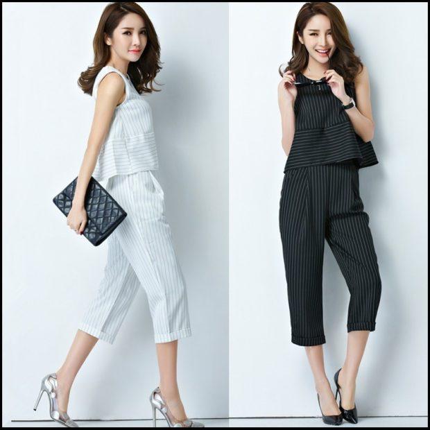 костюм брюки по колено топ белый в полоску черный в полоску