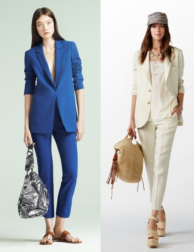 костюм брюки короткие пиджак синий белый