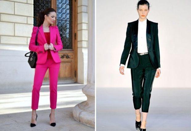 костюм брюки короткие пиджак розовый зеленый бархатный