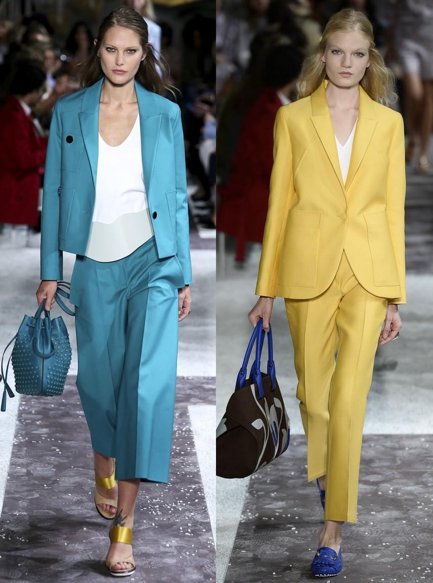 костюм брюки короткие пиджак голубой желтый