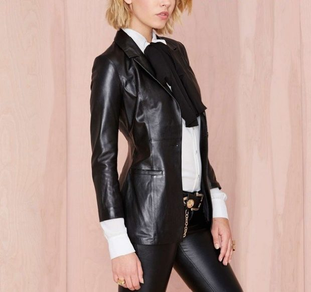 костюм кожаный черный пиджак брюки