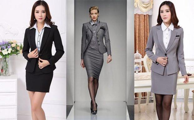 костюм пиджак юбка черный серый серый приталенный