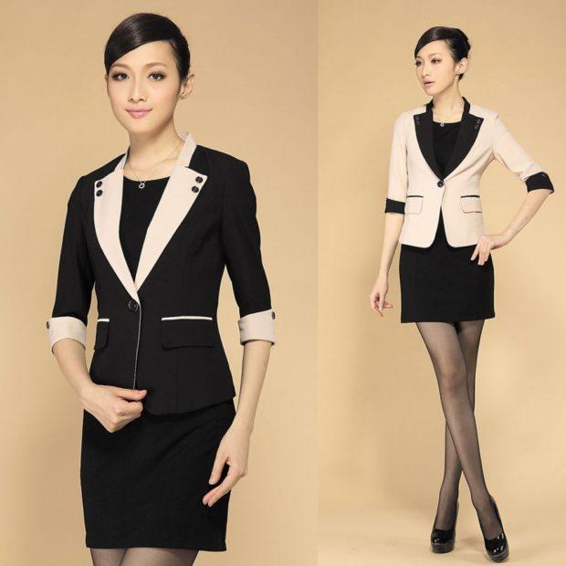 костюм пиджак юбка черный с белым белый с черным