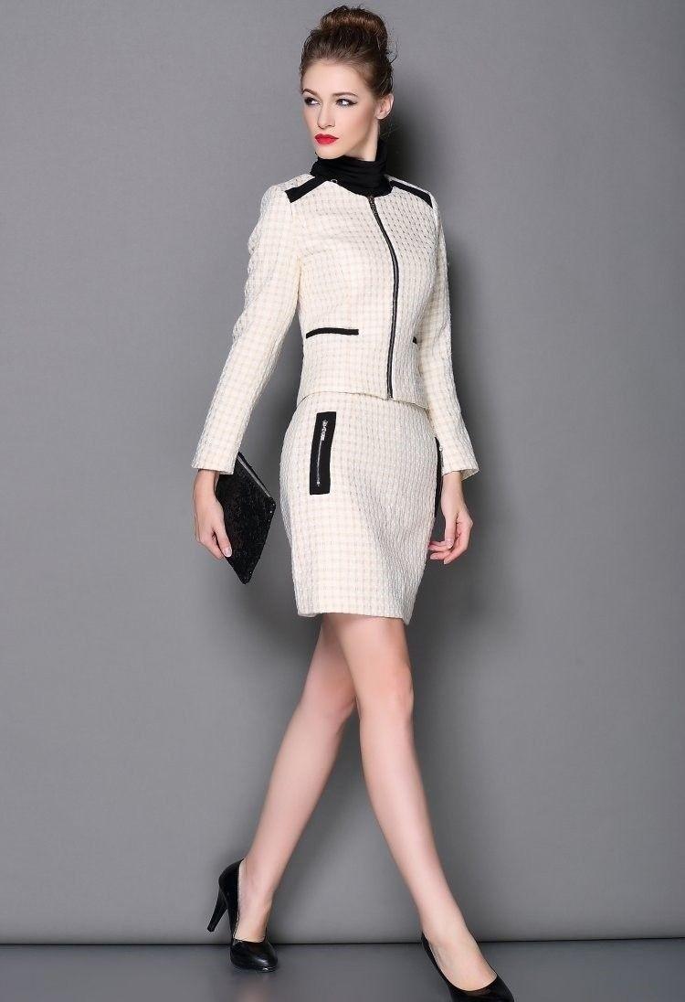 костюм пиджак юбка белый с черными вставками