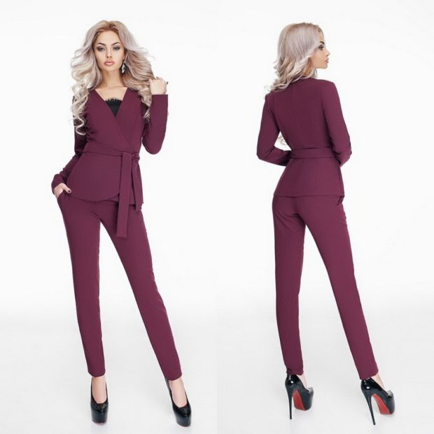костюм брюки пиджак с поясом бордовый