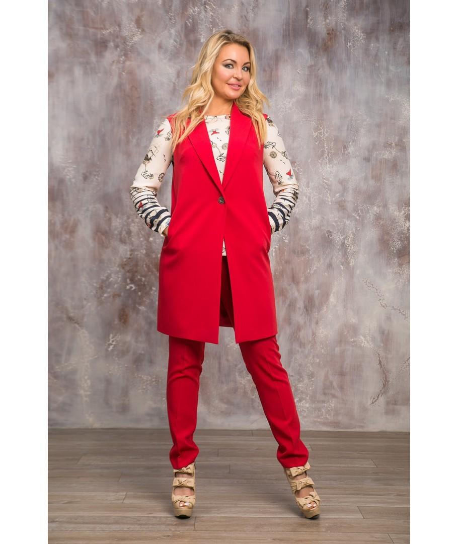 костюм брюки пиджак без рукава длинный красный