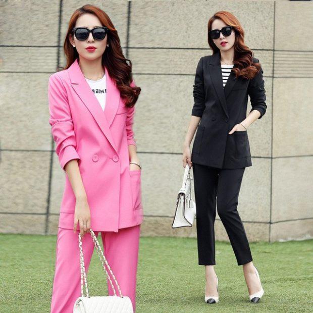 костюм брюки пиджак длинный розовый черный