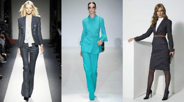 Женские костюмы 2019-2020: серый брюки пиджак бирюзовый брюки черный юбка
