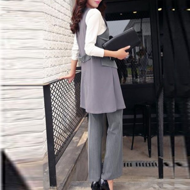 костюм брюки пиджак длинный серый в полоску