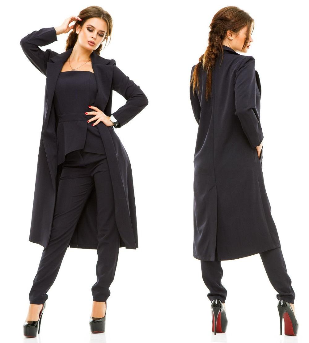 костюм тройка черный пиджак топ брюки
