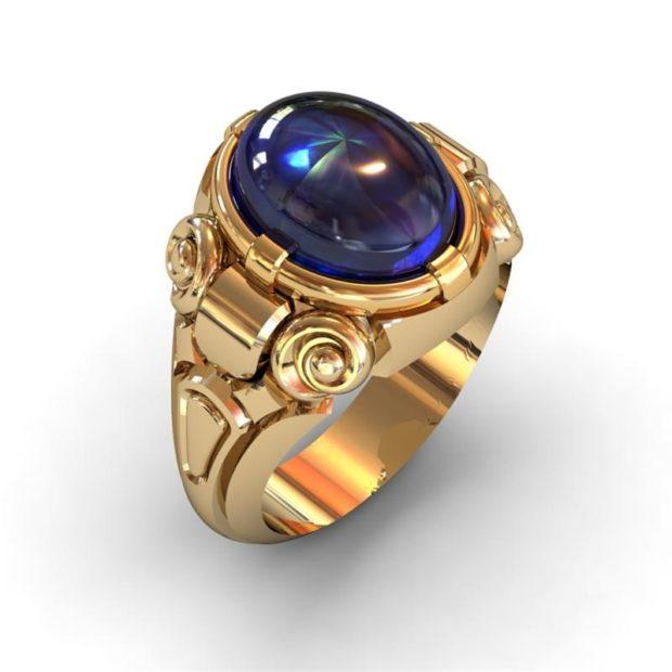 на какой руке носят перстень мужчины: золотой с синим камнем