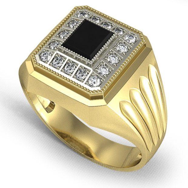 как правильно носить перстень мужчине: золотой с камнями мелкими с большим черным