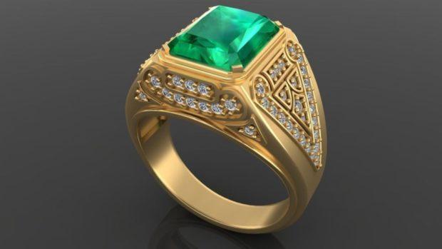 как правильно носить перстень мужчине: золотой с зеленым камнем и мелкой россыпью