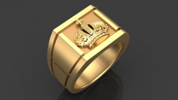 как правильно носить перстень мужчине: золотой корона