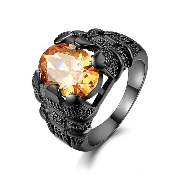 как носить кольца на пальцах мужчине: черный с камнем