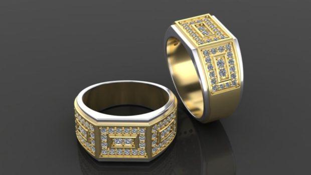 золотое кольцо с россыпью камней