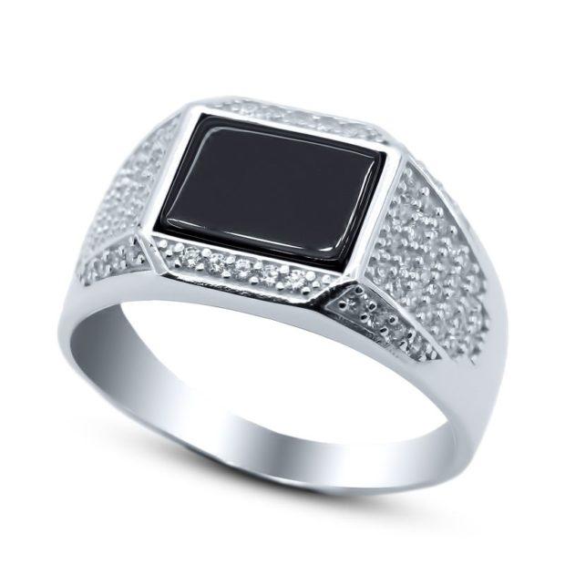 серебро с черным камнем