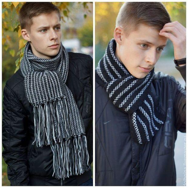 Как носить шарф мужчине: вязанные в узор на узел
