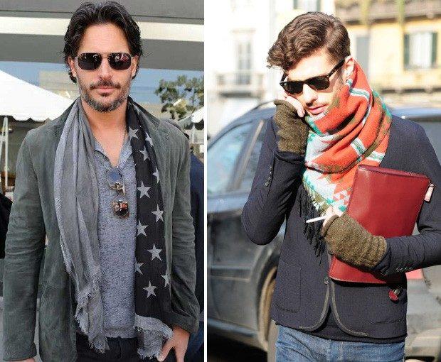 Как носить: шарф серый со звездами яркий в принт косынкой