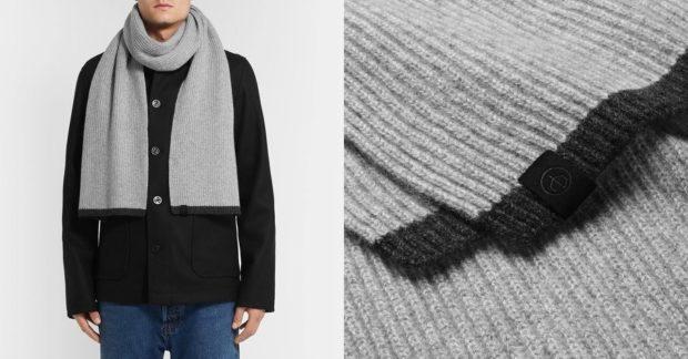 вязанный шарф серый с черной окантовкой