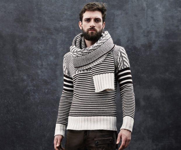 шарф вязаный черно белый