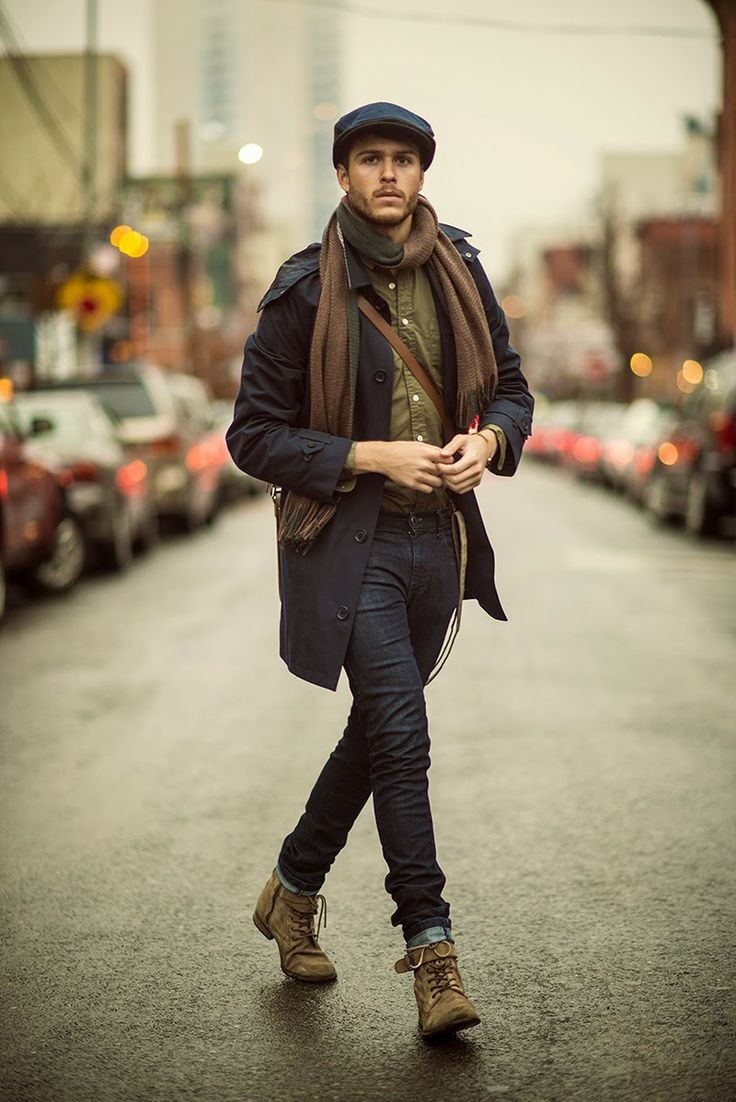 коричнево-зеленый шарф мужской длинный