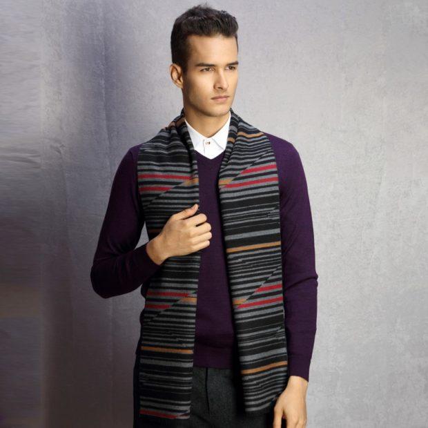 мужской шарф трикотажный в полоску