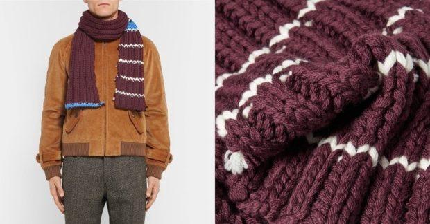 как носить мужчине вязаный шарф бордовый в полоску