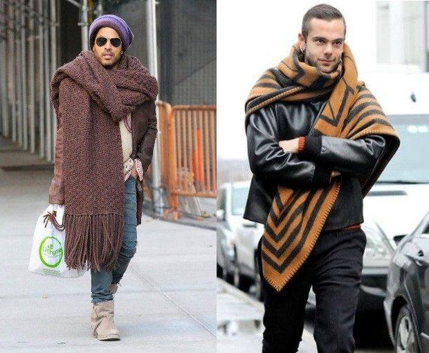 как носить шарфы мужчине длинные объемные