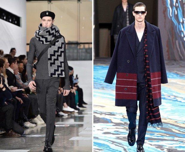 Как носить шарф мужчине: в принт серый коричневый