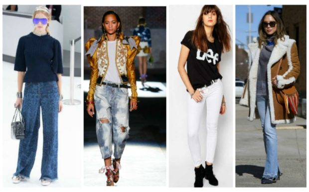 джинсы женские мода 2018-2019: клеш короткие с дырками белые узкие синие
