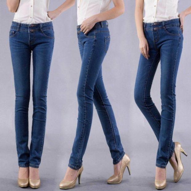 модные джинсы женские 2019-2020: классические зауженные