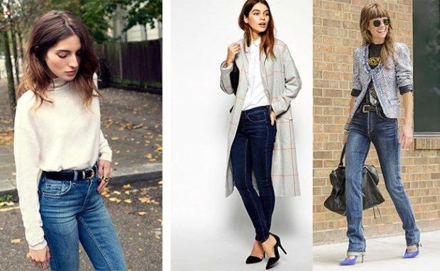 джинсы женские мода 2018-2019: классика темные с потертостями