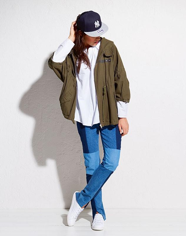 джинсы женские мода 2018-2019: пэчворк три оттенка синего