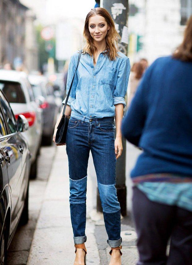 джинсы женские мода 2018-2019: пэчворк синие с голубым