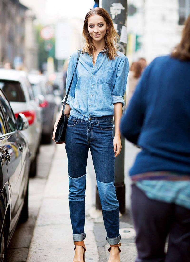 джинсы женские мода 2018: пэчворк синие с голубым
