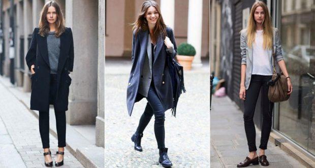 черные скинни под пальто под пиджак