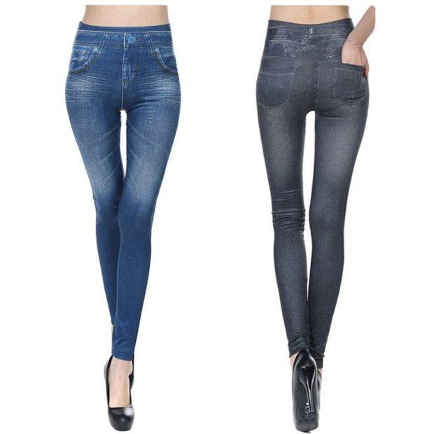 модные джинсы женские 2019-2020: леггинсы серые