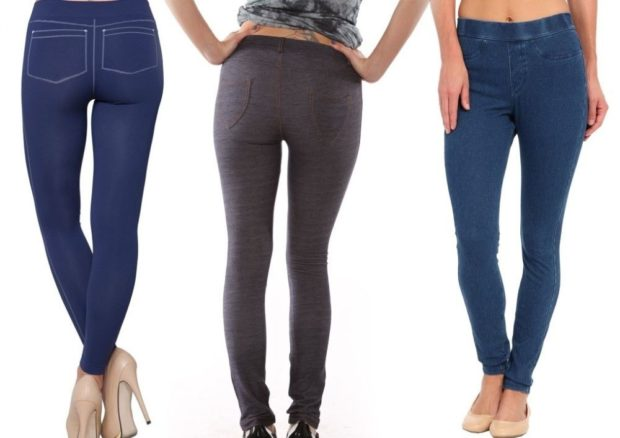 модные джинсы женские 2019-2020: леггинсы коричневые
